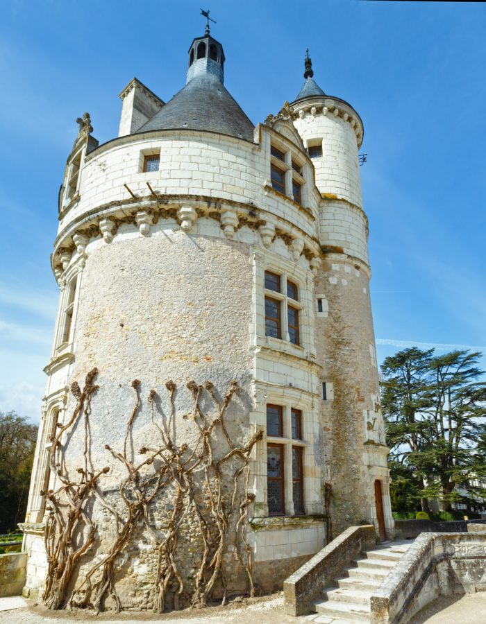 The Marques Tower . Castle Chenonceau (near village Chenonceaux, France). Its first mention in writing in the 11 th century.